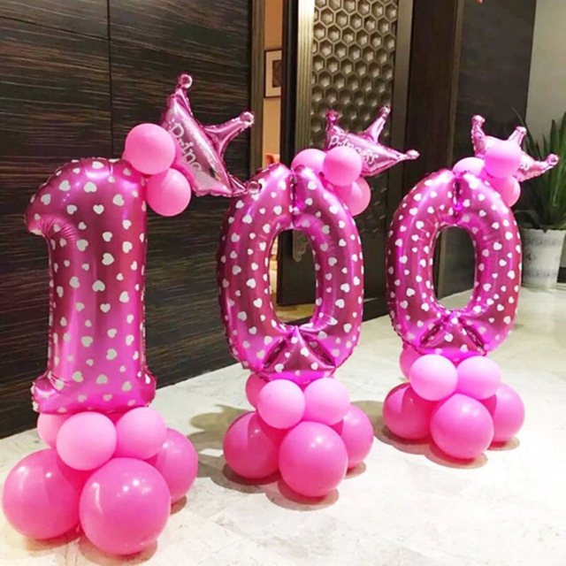 32 Inch Pink Number Inflatable Balloon Helium Foil Wedding Birthday Party Decoration Colorful Balloons