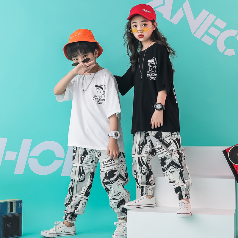 Girls Summer Outfits Hip Hop Streetwear Clothing Set for Big Boy Cotton Cartoon Kids Clothes Girls 8 To 12 Teenagers Clothes 18Y in Clothing Sets from Mother Kids