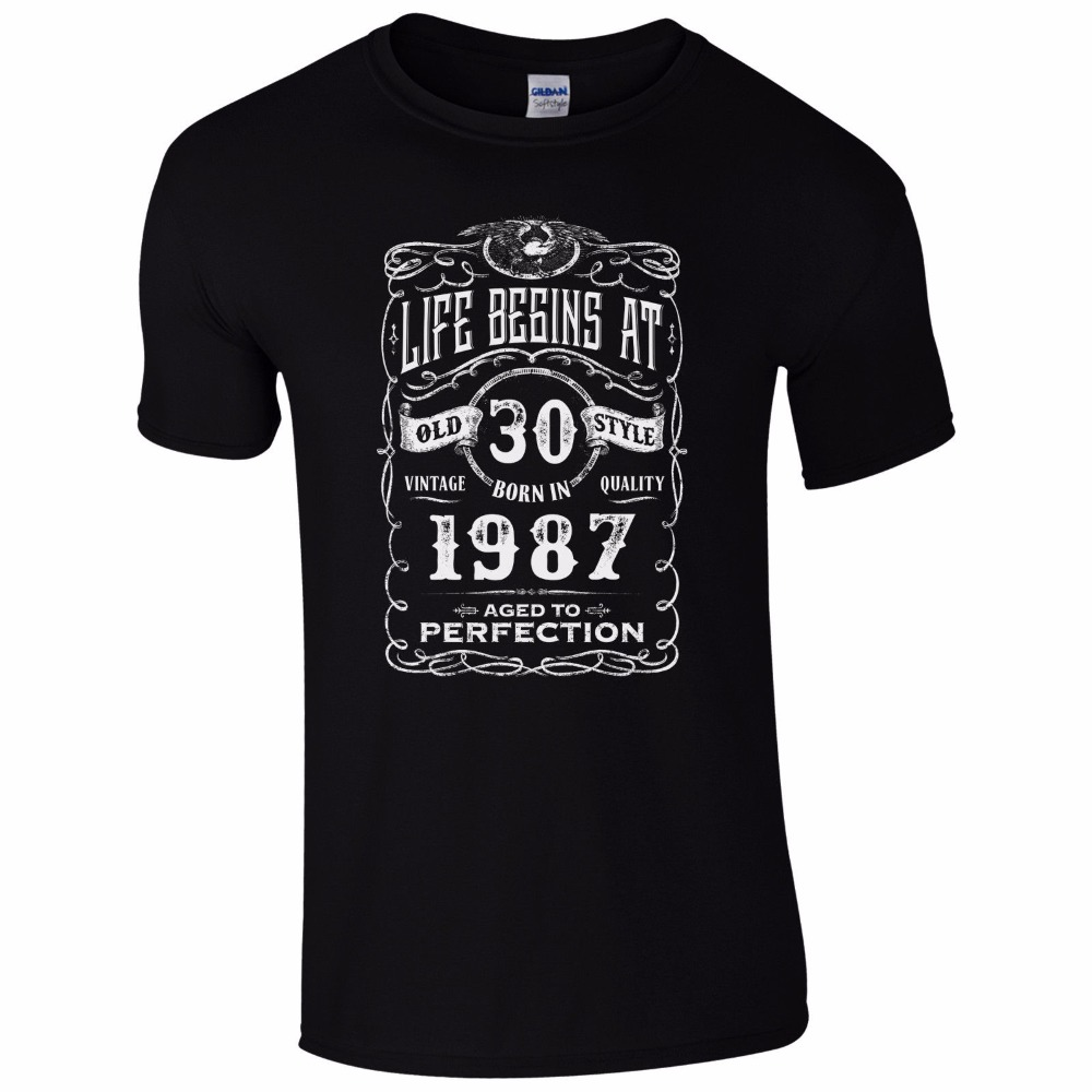Life Begins At 30 T-Shirt 30Th Birthday Year 1987 Milestone Present Mens Gift Tops Men T Shirt