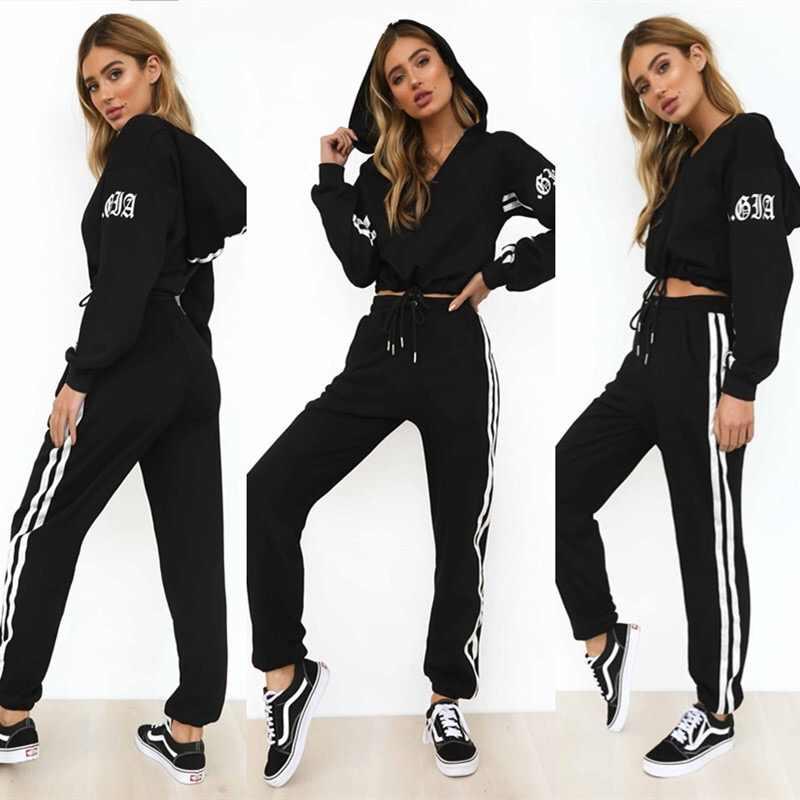 Z P 2019 Chandales Para Mujer 2 Piezas Set Negro Crop Superior Y Pantalones Moda Casual Senora Tumblr Manga Larga Sudaderas Pantalones Traje Conjuntos De Mujer Aliexpress