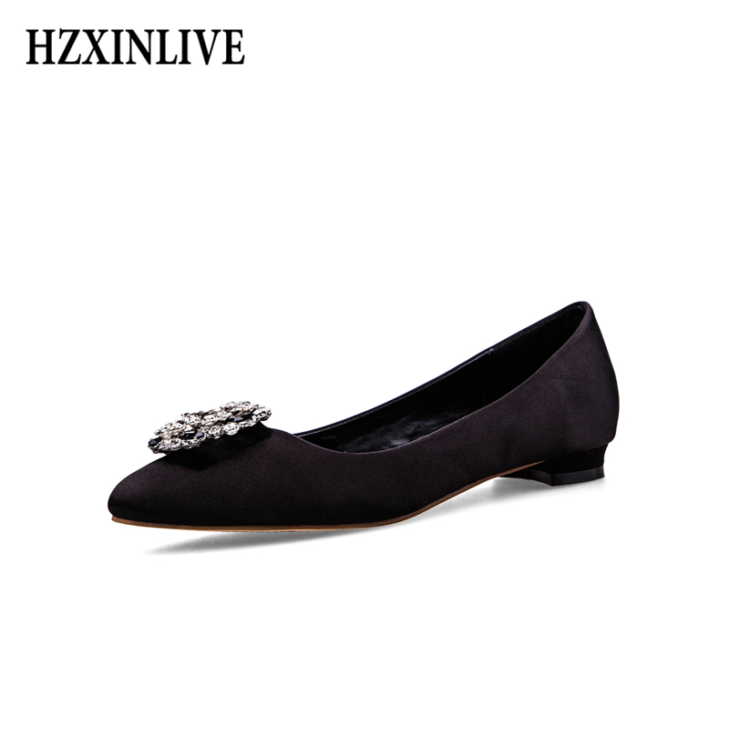 HZXINLIVE Platform Silk Women Shoes Pointed Toe Ladies Shoes Rhinestone Square Heels Slip-on Breathable Female Footwear hzxinlive 2018 flat shoes women breathable flats shoes for women ladies casual platform female fashion summer sneakers footwear
