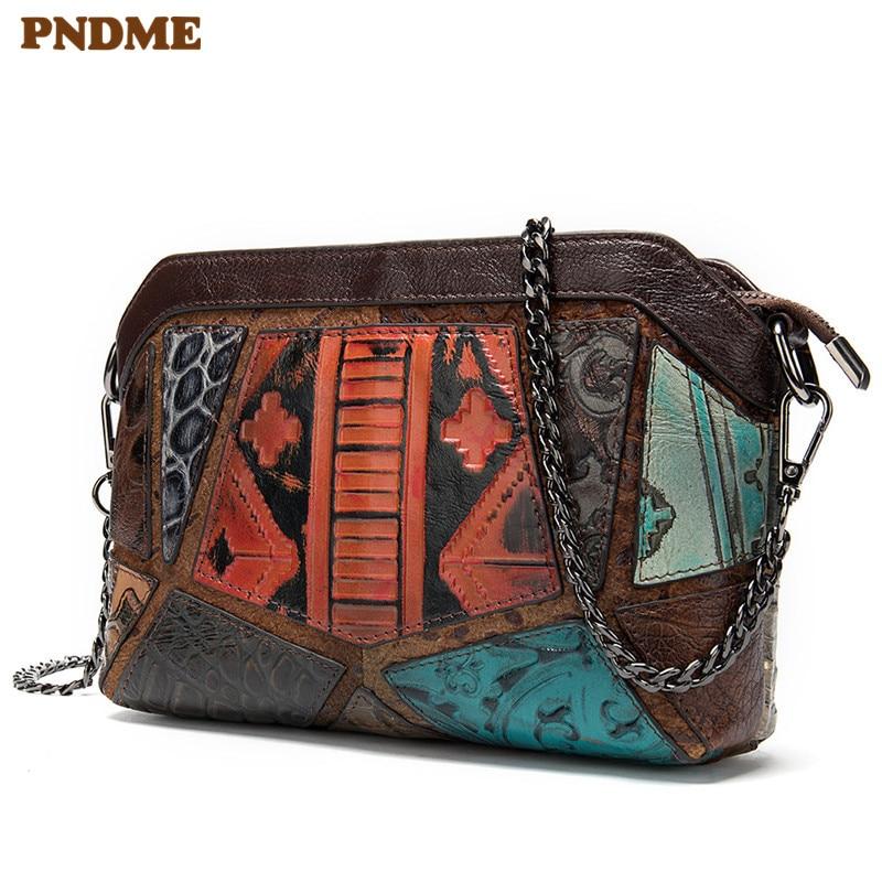 PNDME designer genuine leather ladies shoulder bag for women vintage handmade embossed luxury cowhide female crossbody bags 2019