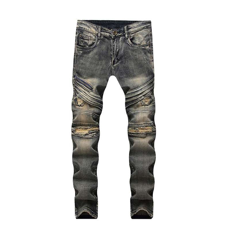 ABOORUN New Mens Biker Jeans Vintage Distressed Ripped Jeans Zippers Patches Straight fi ...
