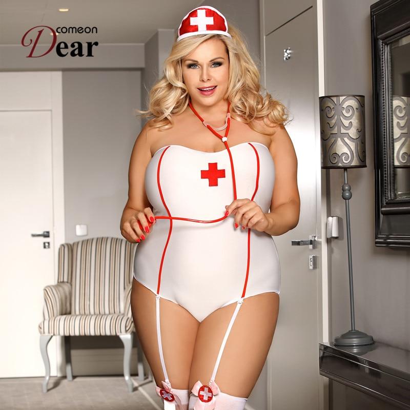 Comeondear Cosplay Sexy Costumes Teddy Lingerie Big Size Adult Sex Lingerie Erotic Uniform Sexy Femme Nurse Uniform Sexy RJ80675