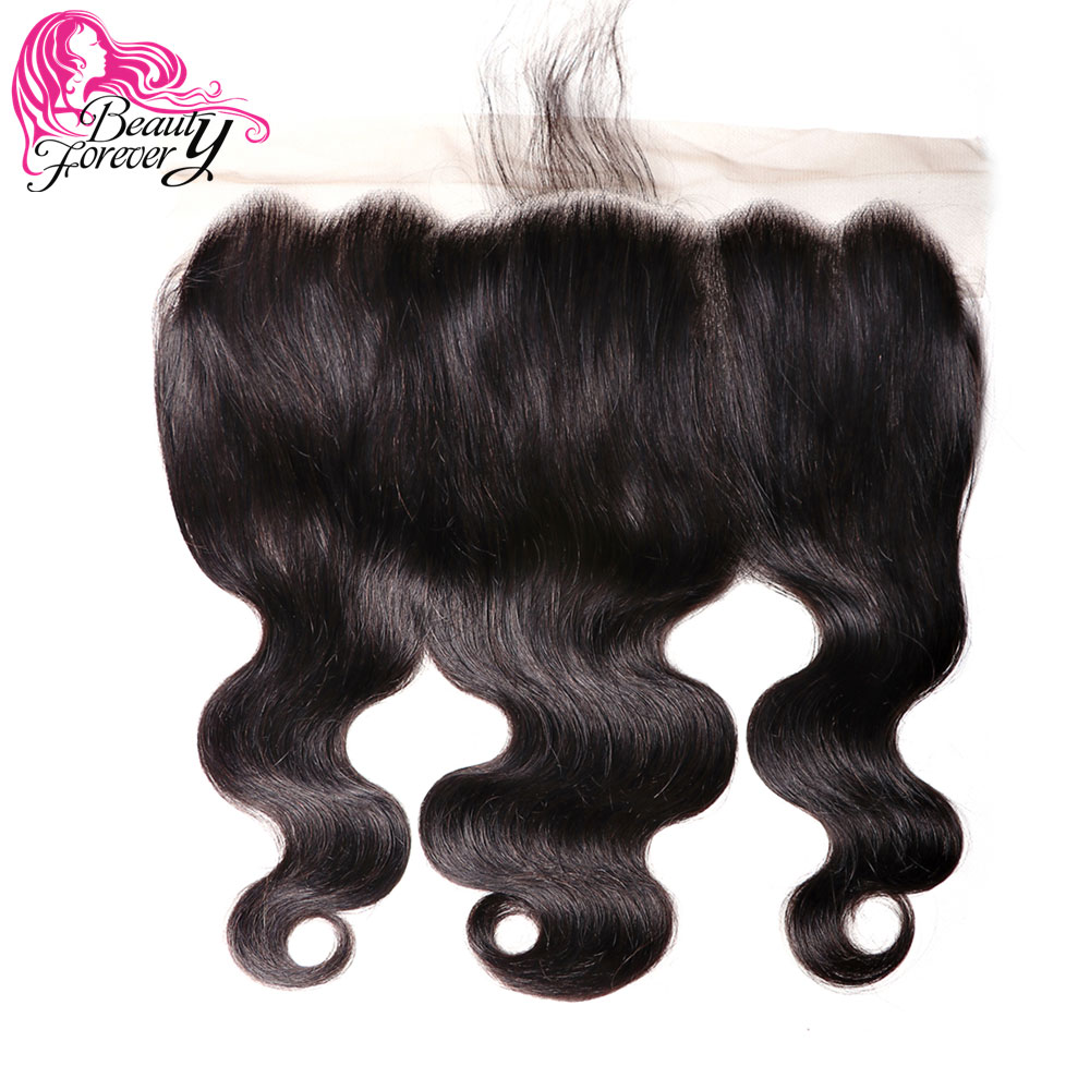 Beauty Forever 13*6 Body Wave Lace Frontal Free Part Brazilian Remy Human Hair Natural Color 120% Density 8-18 Inch