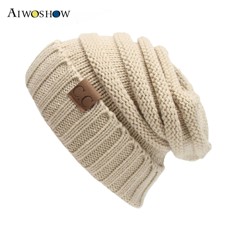 2017 New Fashion Skullies Beanies Winter Cap For Women Stripe knitted Cap Girls Hat Wool Baggy Cap Bonnet Labeling Warm Ski Cap skullies