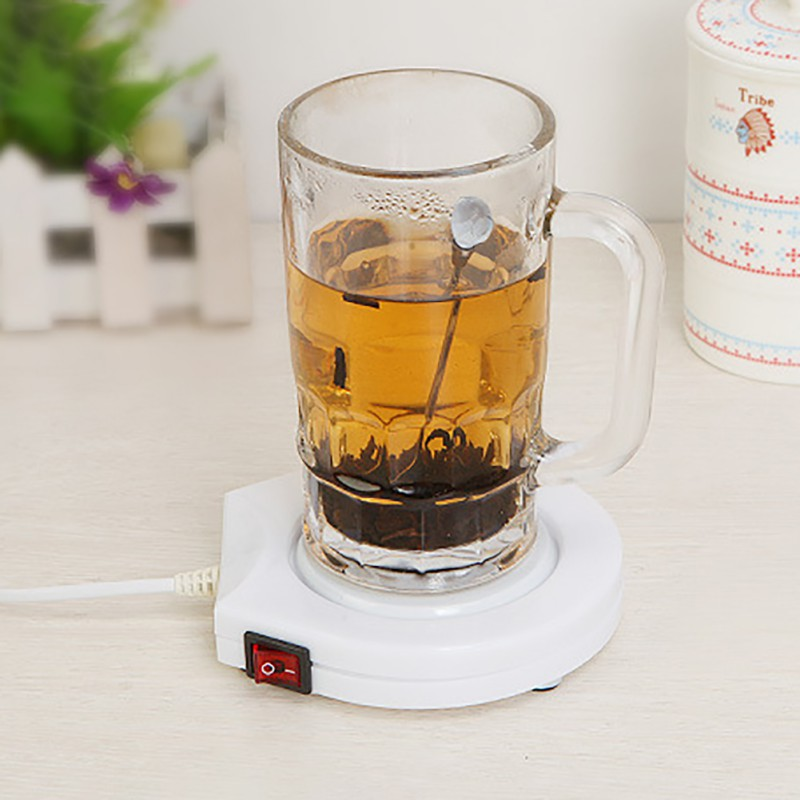 2018 220V US Plug White Electric Powered Drink Cup Warmer Pad Coffee Tea Milk Drink Mug Heater Tray For Office House Winter