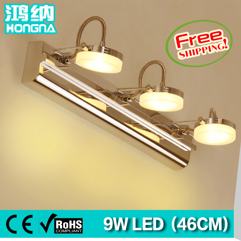 Free Shipping 9W LED Wall Lights Rotatable Stainless Steel Wall Lamp LED Light Bathroom Mirror Lamp rotatable flexible modern led bathroom mirror light stainless steel wall lamp for home living lights