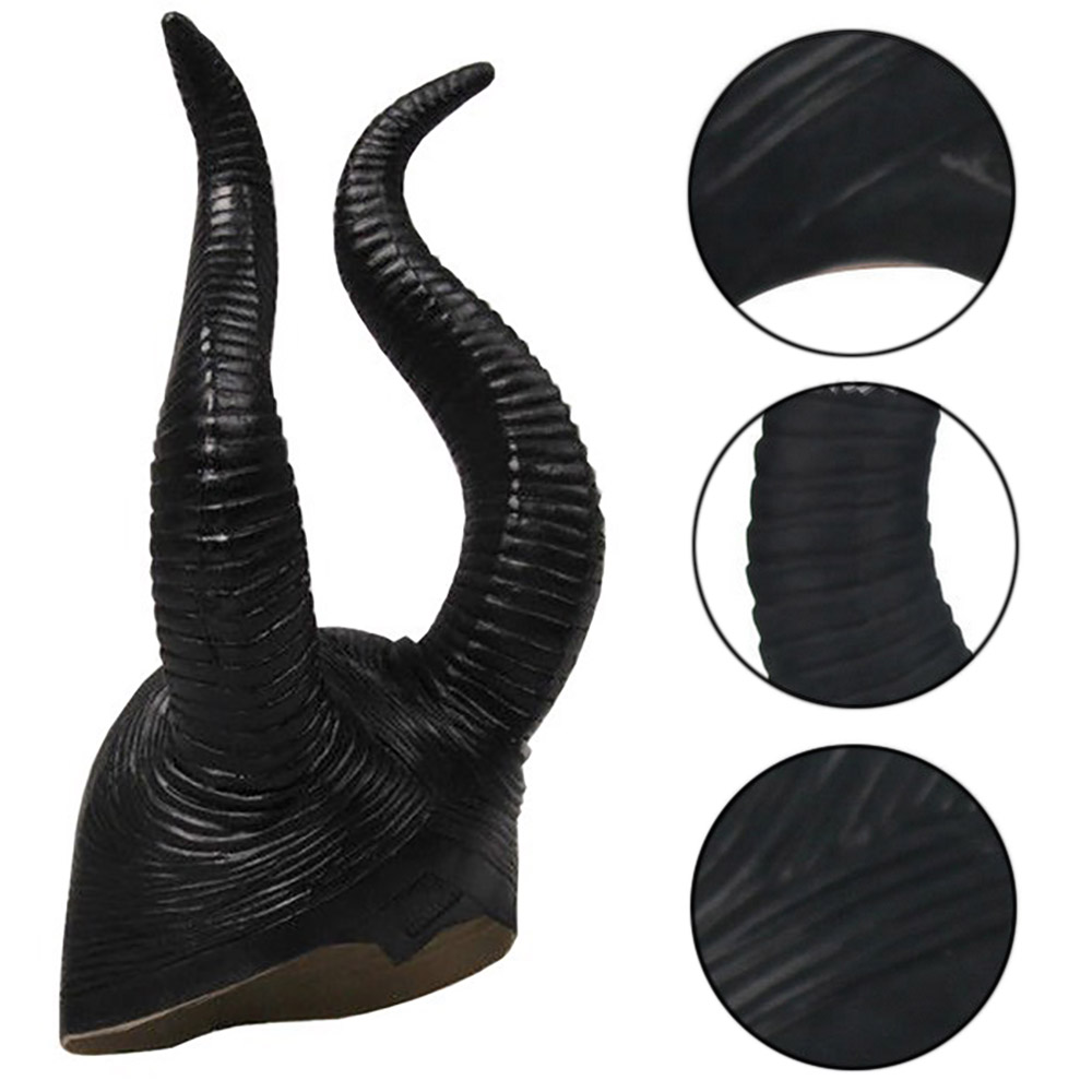 Women Genuine Latex Maleficent Horns Halloween Party Witch Cosplay Costume Hat Gags & Practical Jokes