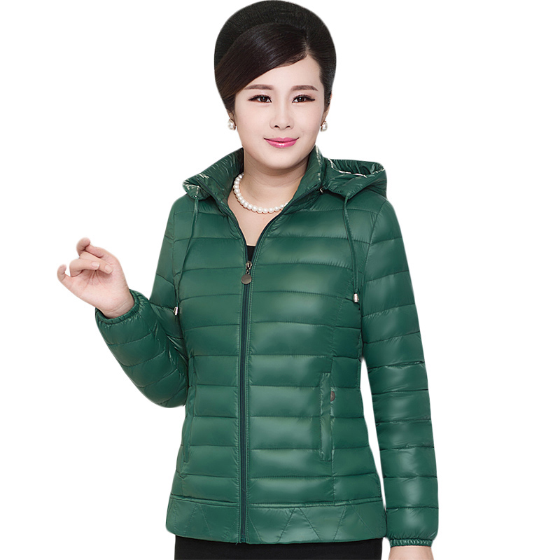 Women 2017 Winter White Duck   Down     Coat   Hoodies Female Fashion Light Jacket   Coats   mother   down   jacket slim warm outerwear QH1020