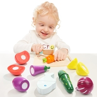 TOPBRIGHT Wood Kitchen Food Fruit Vegetable Cutting Kids Pretend Play Educational Toy Safety Children Kitchen Toys Sets