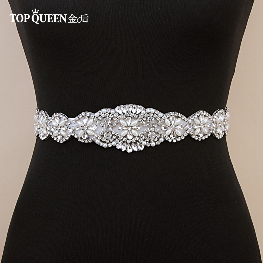 TOPQUEEN S161 FREE SHIPPING Rhinestones Pearls Wedding Belts Wedding Sashes, Bridal Belts Bridal Sashes Wedding Accessories.