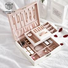 Casegrace Makeup Storage Box PU Leather Fashion Jewelry Box Holder Large Capacity Square Ring Earring Necklace Case Organizer недорого