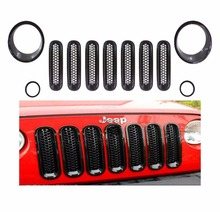 11 PC ABS Black Front Grille Mesh Cove Headlightr Cover Trim For Jeep Wrangler