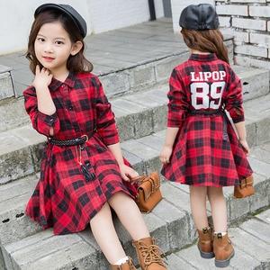 Image 3 - 2018 우아한 여자 캐주얼 긴 소매 격자 무늬 셔츠 복장 벨트 패션 틴 에이저 블라우스 드레스 4 5 6 7 8 9 10 11 12 13 년