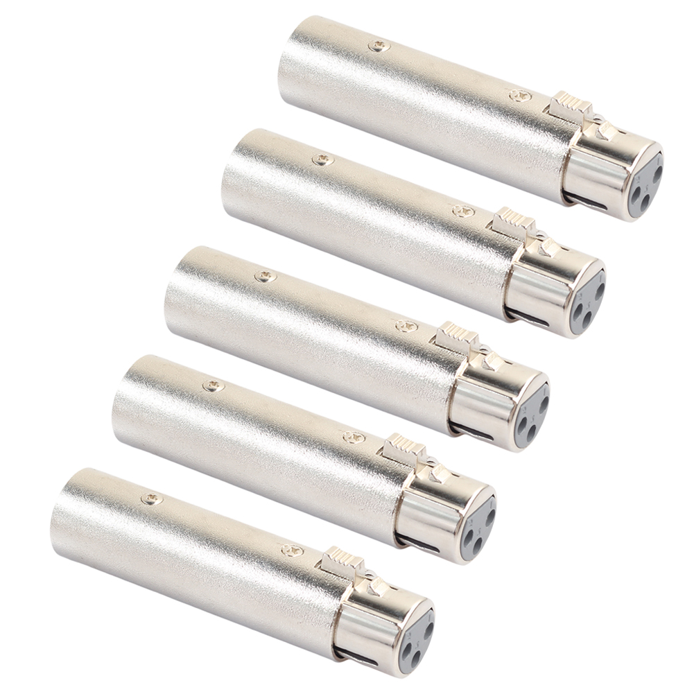 Zinc Alloy 5pcs XLR 3Pin Male to Female phase reverse adapter Plug Socket Cable Connector