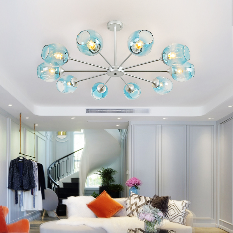 купить Nordic modern minimalist living room chandelier bedroom restaurant creative personality art glass molecular led chandelier онлайн