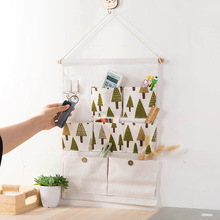 Wall Hanging Organizer Bag Multi function waterproof Storage Pockets Linen Cotton Sundries Folding Pocket Sorting