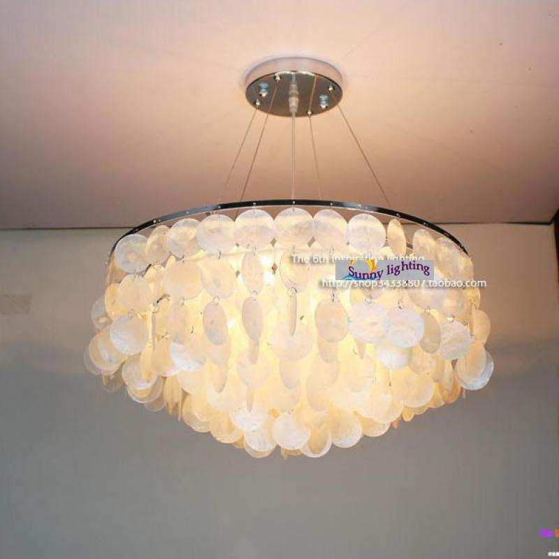 Mediterranean Sea natural Shell pendant lights for dining room Bar New round Led Lamparas Colgantes E27 Hand Knit shell lampe oversized living room 36 inch shell lamps rich natural mediterranean flower garden hotel lobby lights pendant lights wwy 0363