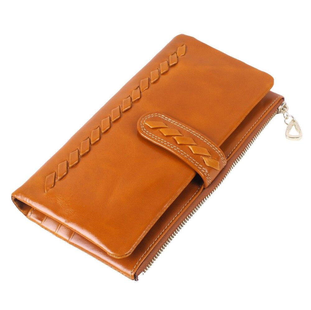 Tissé en cuir véritable femmes portefeuilles dames marque fermetures à glissière Hasp Long portefeuille femme sacs multi-porte-carte mode femmes sacs à main