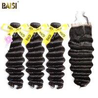BAISI 100% Unverarbeitetes Europäisches Reines Haar Natürliche Welle 8-28 zoll 3 Bundles mit Verschluss Freies Verschiffen, natürliche Farbe