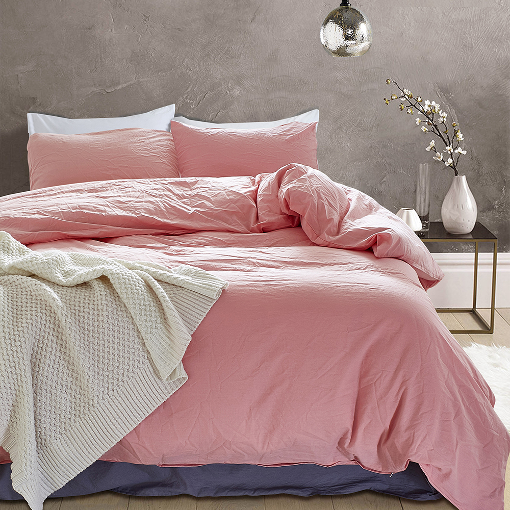Image 2 - American Style 100% Pure Cotton Duvet Cover Pillowcase Set US Twin Queen King Size Solid Color Washable Quality Bedding Set-in Bedding Sets from Home & Garden