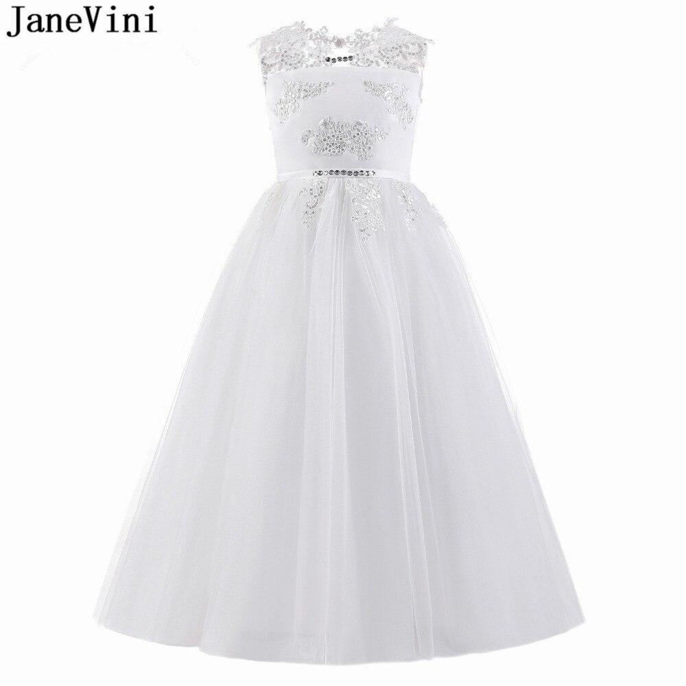 JaneVini Lovely White   Flower     Girl     Dresses   for Wedding Tulle Floor Length Appliques Sequined A Line   Girls   First Communion   Dresses