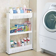 3 уровня Gap Кухня хранения полка тонкий слайд башня Движимое собрать Пластиковая полка для ванной комнаты колеса Компактный органайзер