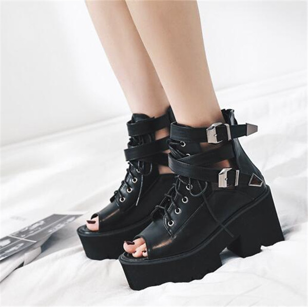 a4ba0741801 PXELENA Thick Platform Punk Rock Gothic Sandals Women Peep Toe Buckle  Chunky Block High Heels Sandals Zip Lace Up Mototrycle Hot