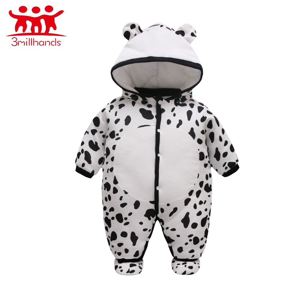 2017 Baby Girl Boy Clothes Winter Newborn Cotton Long Sleeve Milk Cow Pattern Printed Romper Jumpsuit Romper Baby Clothes