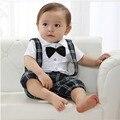 1 pc Bow tie Bib bebê menino falso 2 pcs cavalheiro Romper de casamento terno smoking Outfit