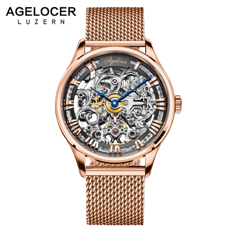AGELOCER Brand Men watches Automatic mechanical watch Power Reserve 80 Hours Sport clock wristwatch 18k Gold relojes hombre цена