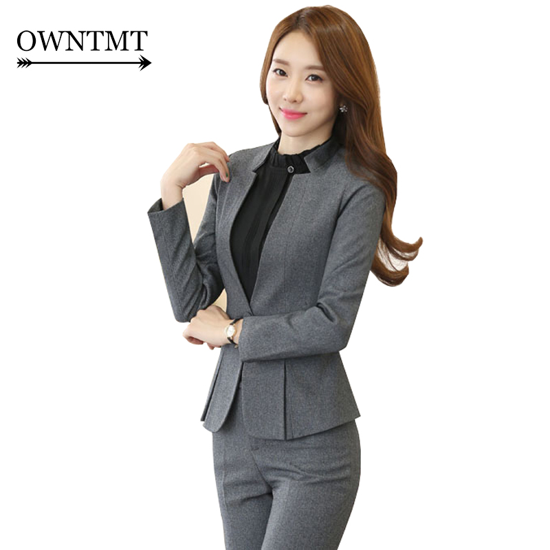 High grade Two Piece Formal Pant Suit Ladies for Wedding Office Plus Size Uniform Designs Gray Women Business Suits for Work-in Pant Suits from Women's Clothing    1