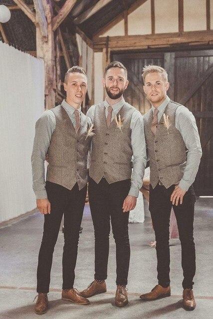 2016 Vintage Gray Tweed Vest Men Suit Vest Slim fit Groom's Wear Vest Wedding Waistcoat Hot Sale Mens Dress Vests Plus Size