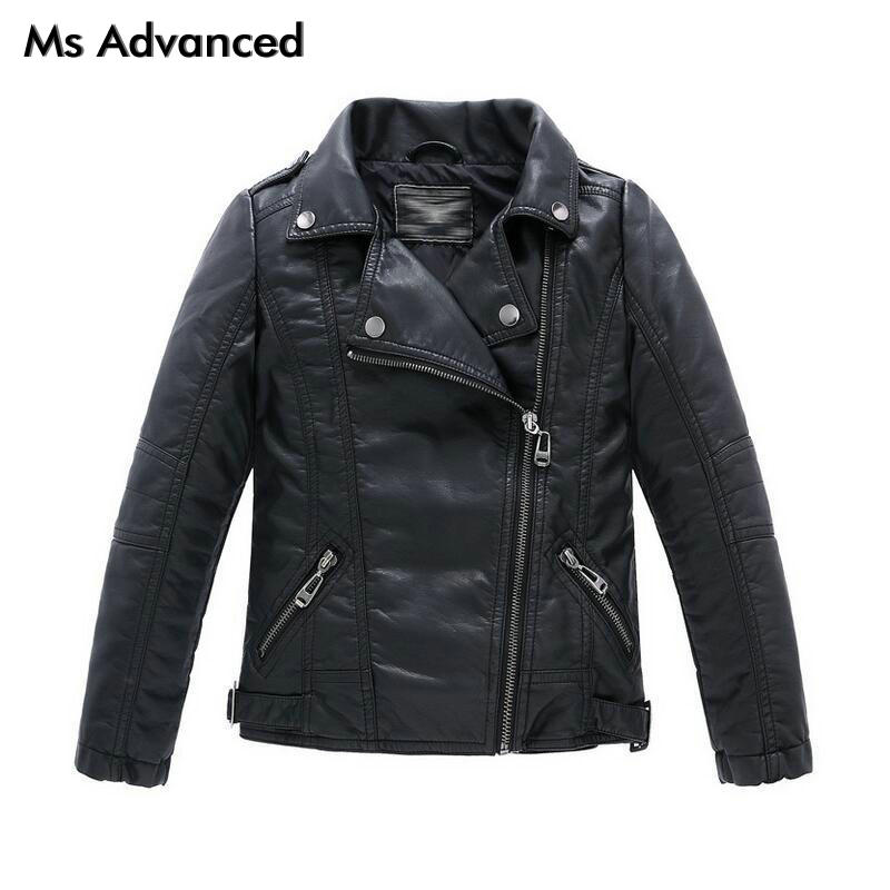 Teenager Girls Boys Leather Jacket Boys Casual Black Solid Children Outerwear Kids Girls Coats Spring Leather Jackets 2017 New new spring teenagers kids clothes pu leather girls jackets children outwear for baby girls boys zipper clothing coats costume