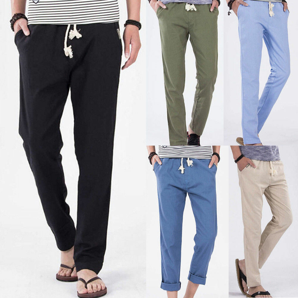 Fashion Men 39 s Loose Linen Pants Casual Drawstring Waist Solid Linen Trousers 2019 Summer Beach Solid Breathable Pants in Casual Pants from Men 39 s Clothing