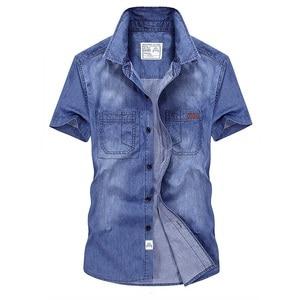 Image 2 - Casual Shirts Solid  High Quality Summer Denim Shirt Men Short Sleeve Casual Shirts Loose Plus Size XXXL 4XL 2018 New