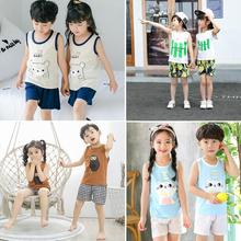 2pcs/set Toddler Boys Girls Clothes Sportswear Casual Sleeveless Vest and Shorts Unisex Clothing Set