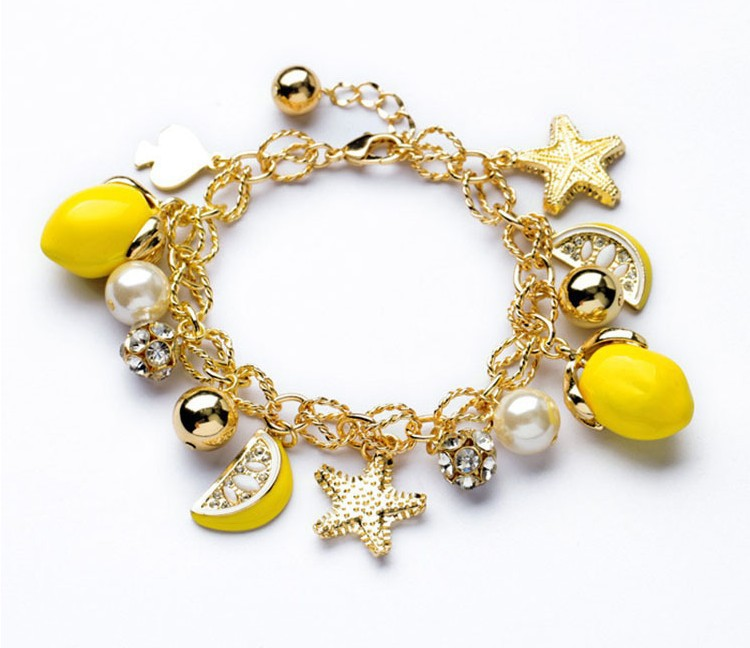 Браслет со звездами золотой
