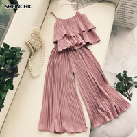 Vintage Summer 2019 Vacation Beach Women 2 Piece Set Elegant Ruffles Pleated Chic Tops And Ankle Length Pants Two Piece Set Suit