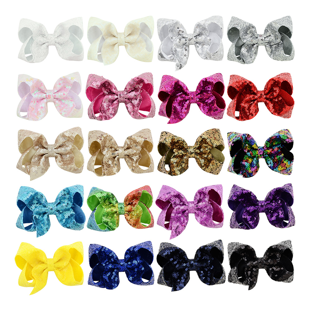 4 Inch Boutique Sequins Hair Clips For Little Girls Toddlers Kids 20 Bulk Medium Party Festival Girls Sparkling Bows Hairgrips