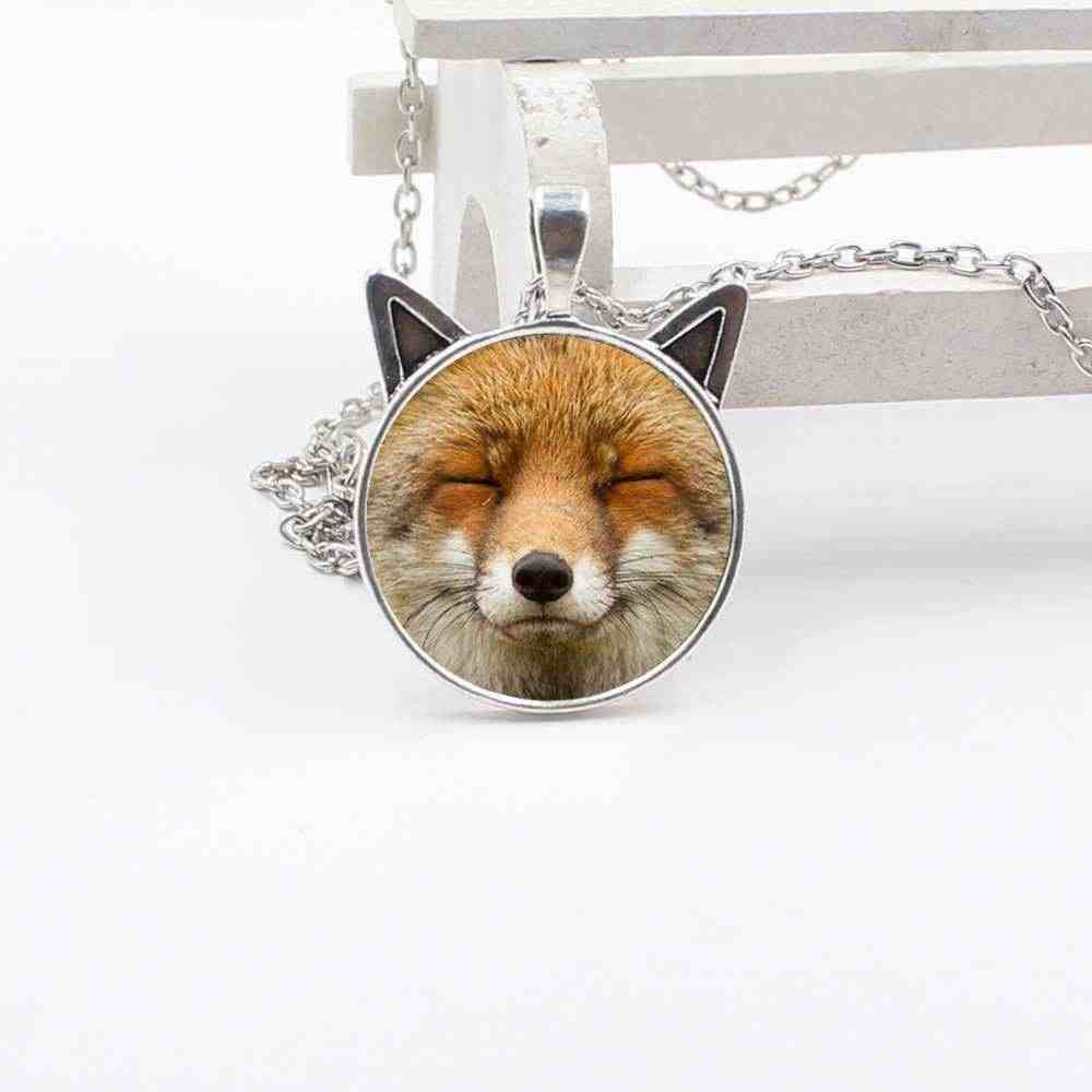 Wholesale New Cute Cat Ear Pendant Glass Round Fox Face Necklace Children Jewelry Gifts