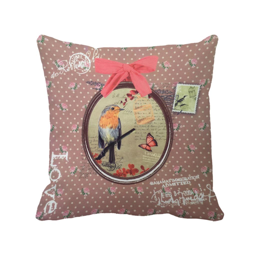 Bird In Mirror With Bowknot Printed Spotty Flora Custom