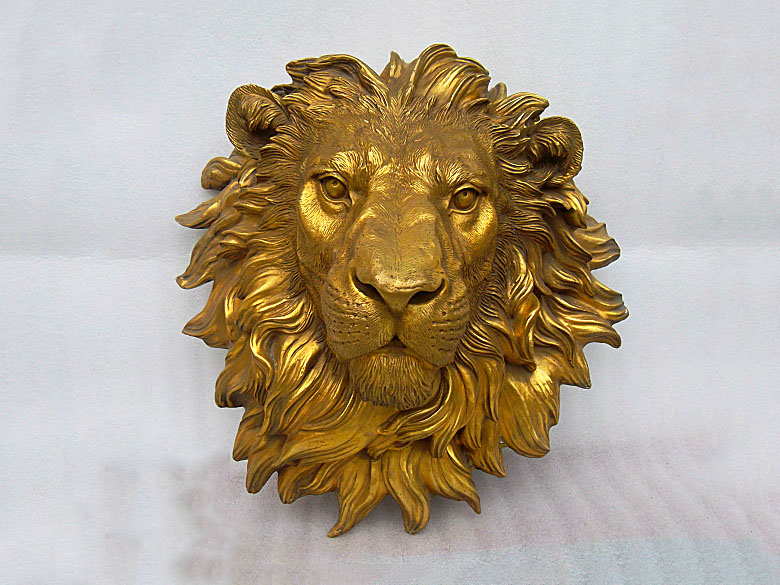 Art pure bronze sculpture carvings fierce beast of prey lion head statue Garden Decoration 100% real Brass Bronze