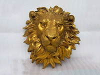 Art pure bronze sculpture carvings fierce beast of prey lion head statue Garden Decoration 100% real Brass Bronze