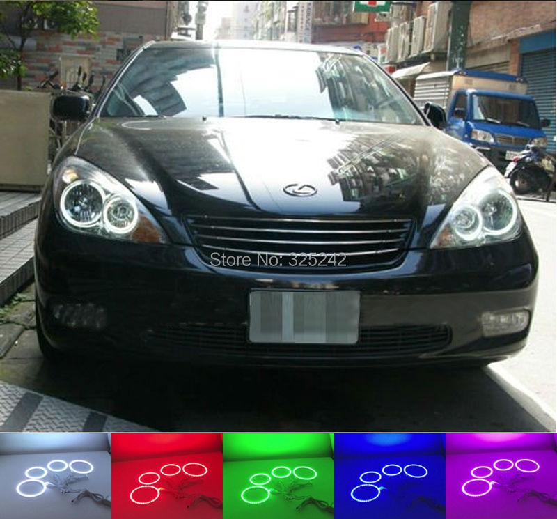 ФОТО For Lexus ES300 ES330 2002 2003 2004 Excellent Angel Eyes Multi-Color Ultra bright RGB LED Angel Eyes kit Halo Rings