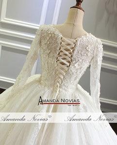 Image 4 - Amanda Novias vestido de noiva Long Sleeve Lace Wedding Dress New