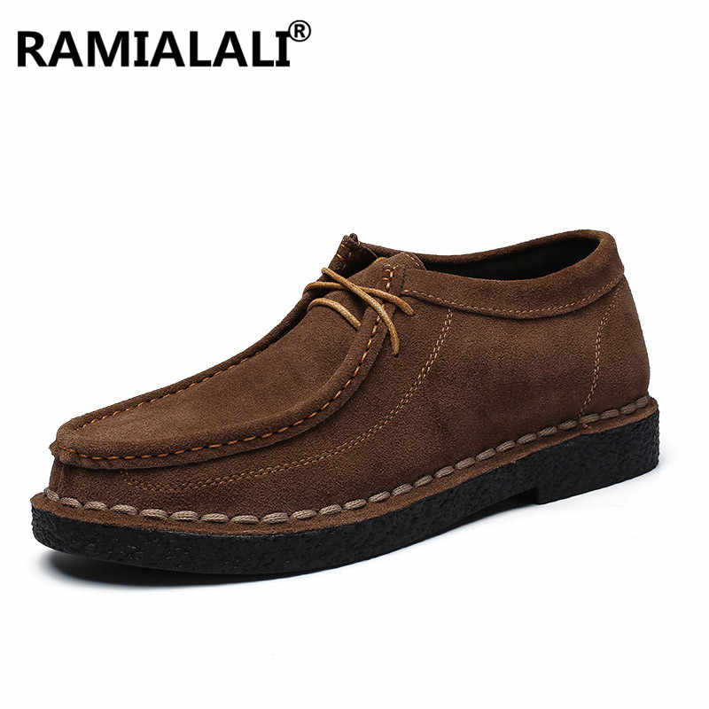 Ramialali Genuine Leather Man Shoes Luxury Loafer Round Toe Male Footwear Comfortable Oxford Dress Shoes for Men Zapatos Hombre