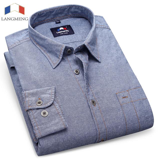 Langmeng 2016 nuevo 100% algodón de moda camisa de los hombres camisas casuales vestido de la marca de ropa masculina de manga larga slim fit hombres chemise homme