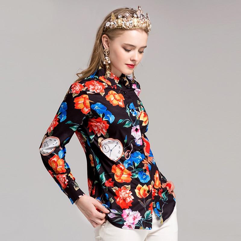 Douce Mode Femmes Floral Mignon Haute Jolie Chemises Manches Mince down Automne Col Pleine Qualité 2017 Imprimer Turn dBIwxqzpdA